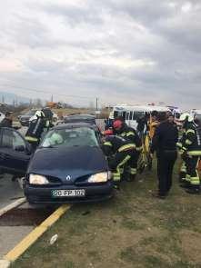 Denizli'de okul servis aracının karıştığı kazada faciadan dönüldü