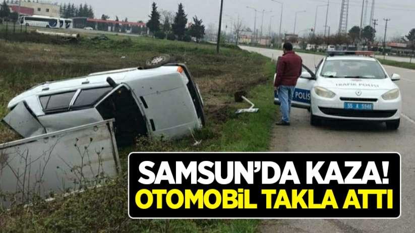 Samsun'da kaza! Otomobil takla attı