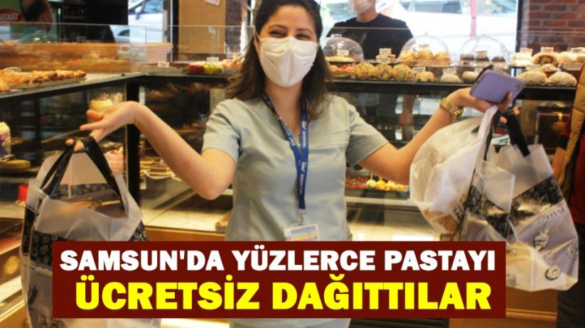 Samsun'da yüzlerce pastayı ücretsiz dağıttılar