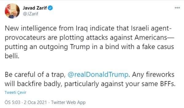 İrandan Trumpa İsrailli provokatör ajanlar saldırı planlıyor uyarısı