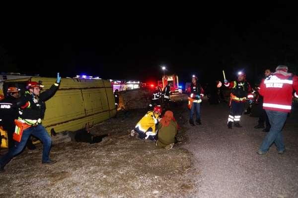 Otobüs kazası ihbarı tatbikat çıktı