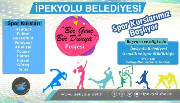 İpekyolu Belediyesinden 'Bir Genç Bir Dünya' spor kursları