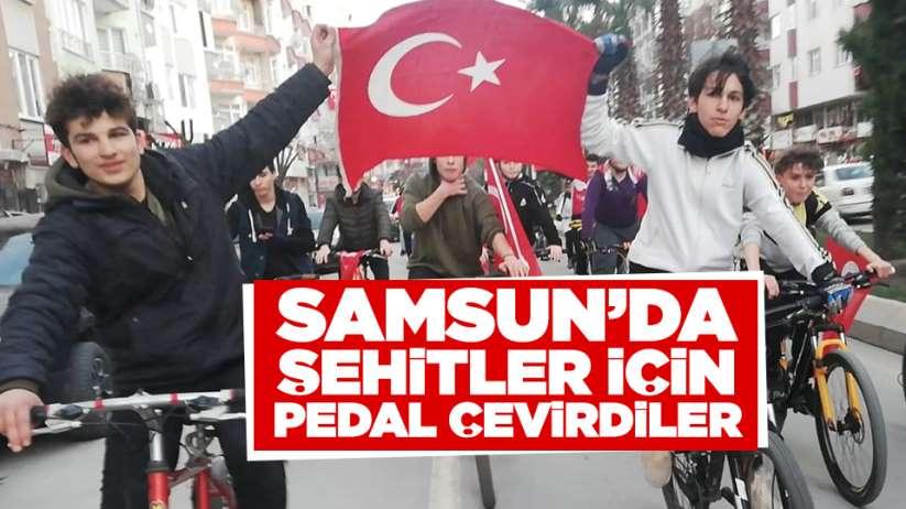 Samsun'da şehitler için pedal çevirdiler