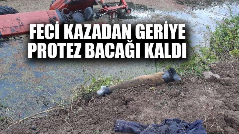 Samsun'da feci kaza traktörle sulama kanalına düştü