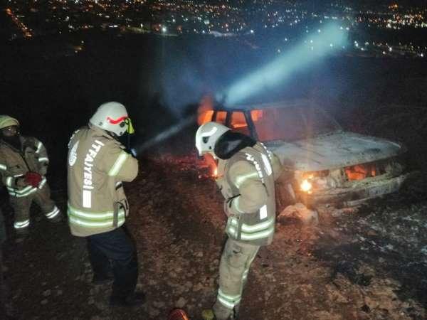 Ormanlık alandan gelen patlama sesi sonrası alevler yükseldi