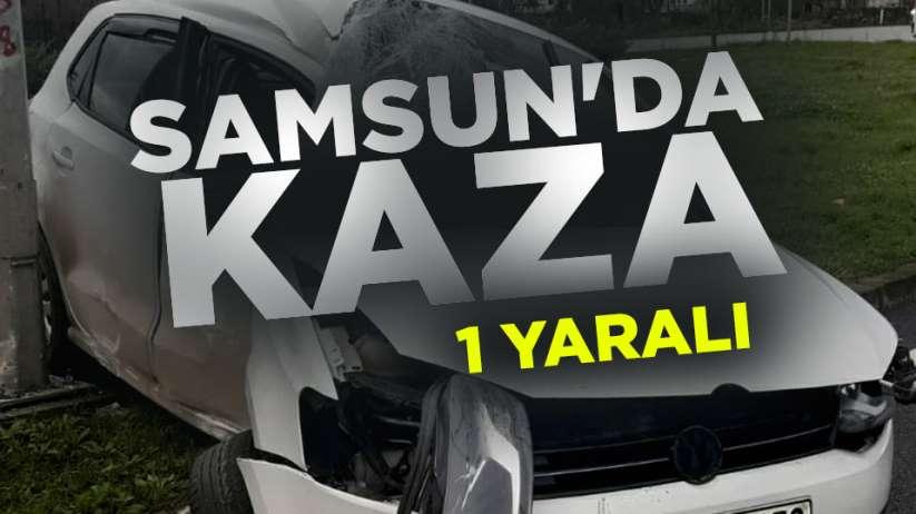 Samsun'da otomobil direğe çarptı