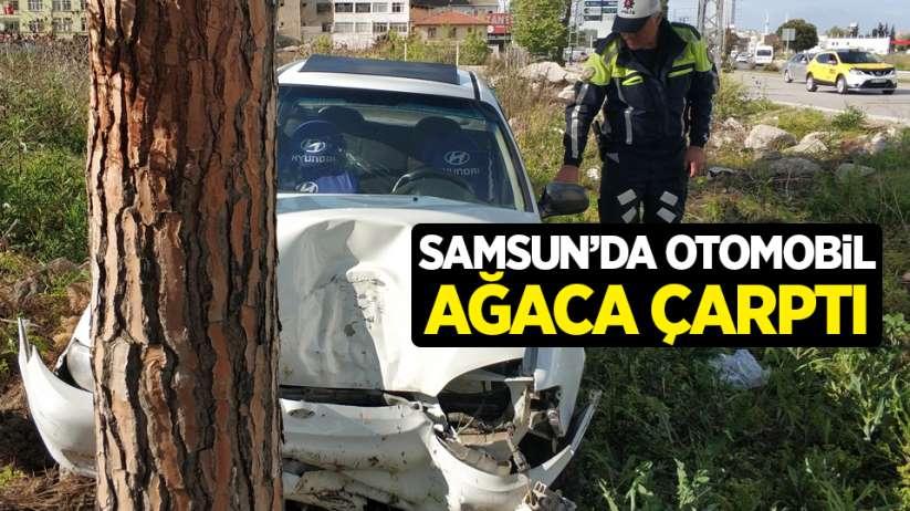 Samsun'da otomobil ağaca çarptı