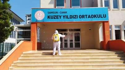 Canik'te sınavlar öncesi okullar dezenfekte edildi