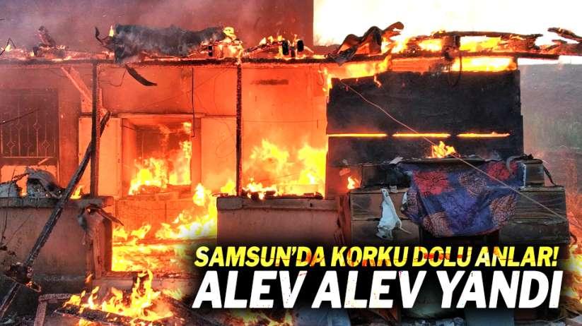 Samsun'da korku dolu anlar! Alev alev yandı