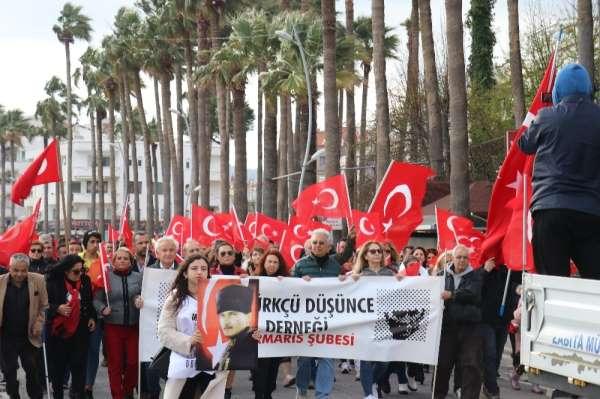 Marmaris'te 'Şehitlere Saygı' yürüyüşü