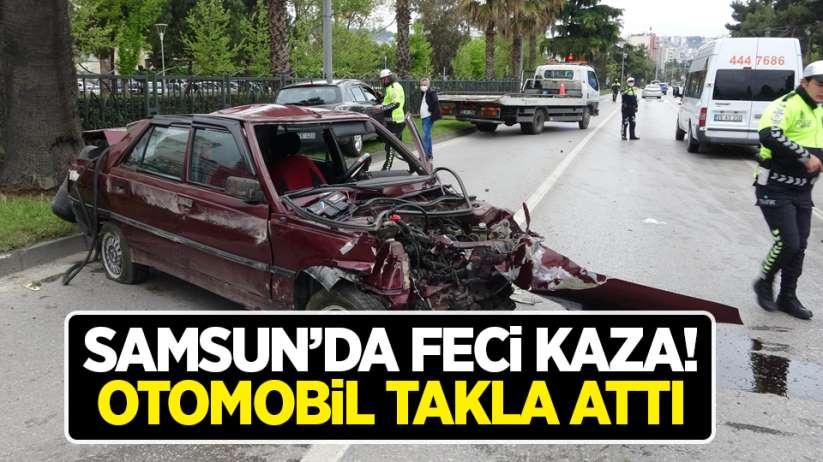 Samsun'da feci kaza! Otomobil takla attı