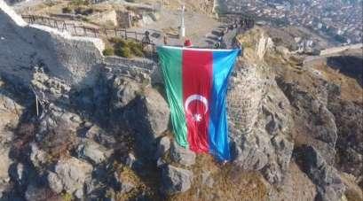 Amasya'dan Azerbaycan'a dev bayraklı destek