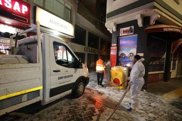 Sinop'ta 7/24 dezenfekte çalışması