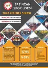 Erzincan Spor Lisesine yetenek sınavıyla öğrenci alınacak