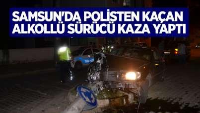 Samsun'da polisten kaçan alkollü sürücü kaza yaptı