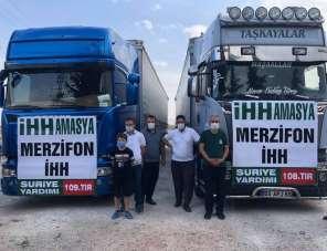 Merzifon'dan İdlib'e 3 tır insani yardım malzemesi