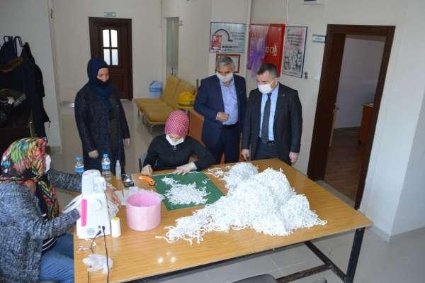 Havza'da maske üretimi