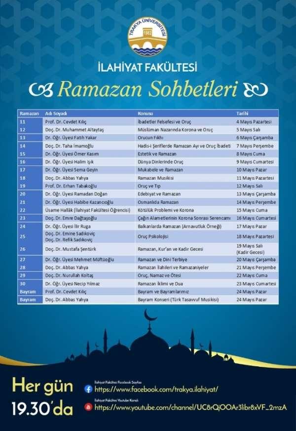 Trakya Üniversitesi İlahiyat Fakültesi'nden bir kültür hizmeti daha: 'Ramazan So