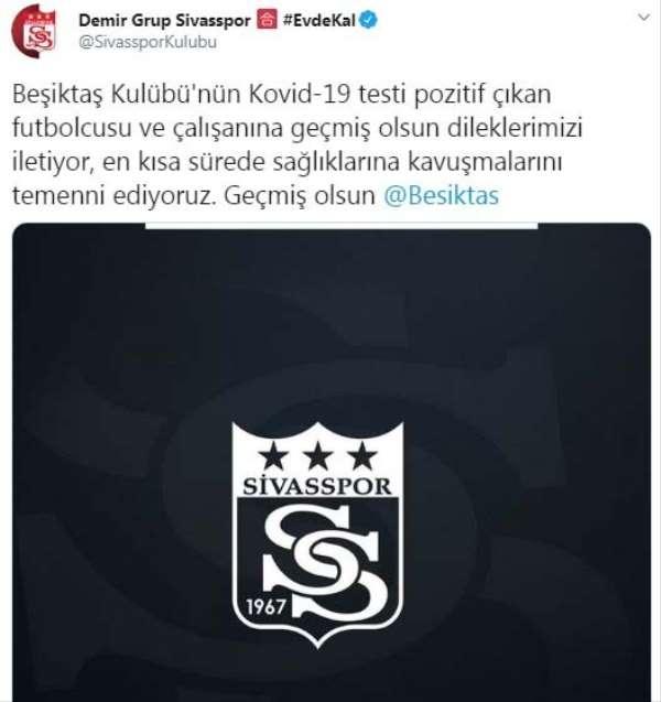 Sivasspor'dan Beşiktaş'a geçmiş olsun mesajı