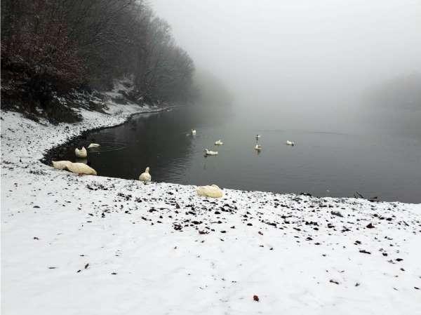 Boraboy Gölü'nde kar güzelliği