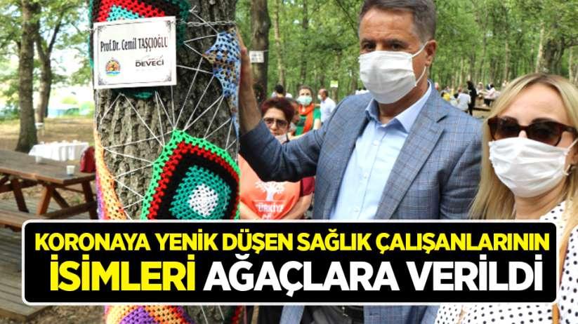 Koronaya yenik düşen sağlık çalışanlarının isimleri Samsun'da ağaçlara verildi