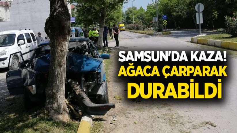 Samsun'da kaza! Ağaca çarparak durabildi