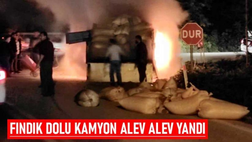 Fındık dolu kamyon alev alev yandı
