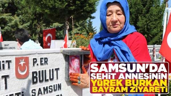 Samsun'da şehit annesini yürek burkan bayram ziyareti