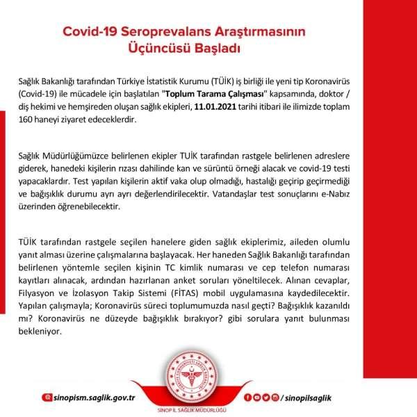 Sinopta 160 haneye korona virüsü taraması yapılacak