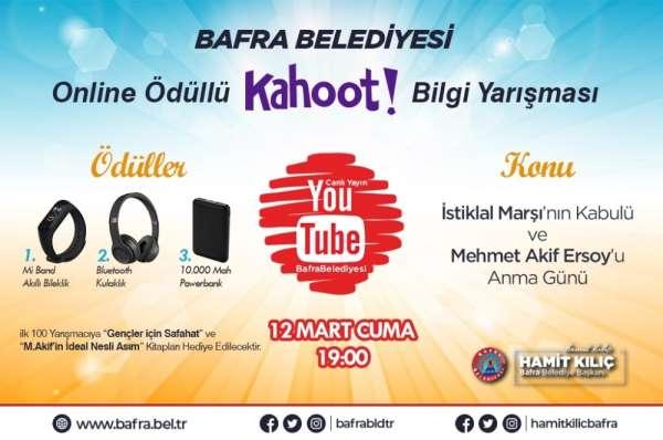 Bafra Belediyesinden genel kültür temalı ödüllü online bilgi yarışması