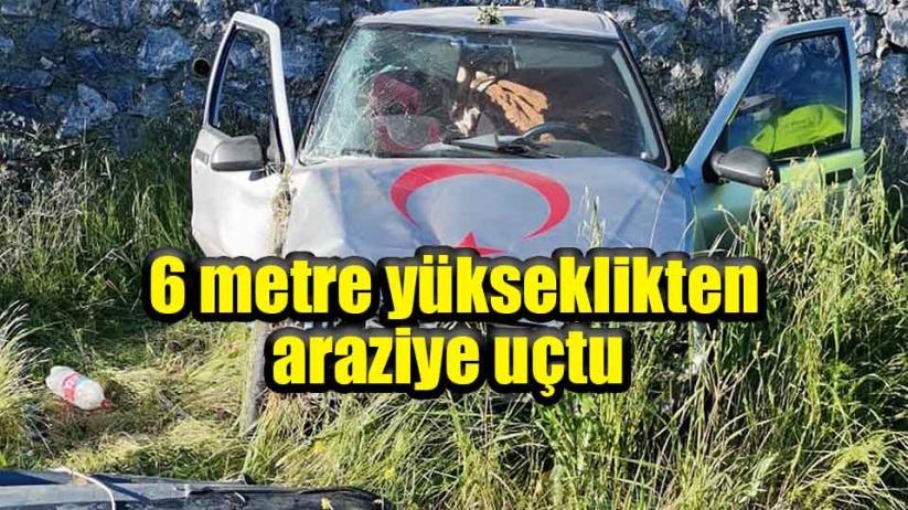 Samsundaki kazada araç 6 metre yükseklikten araziye uçtu