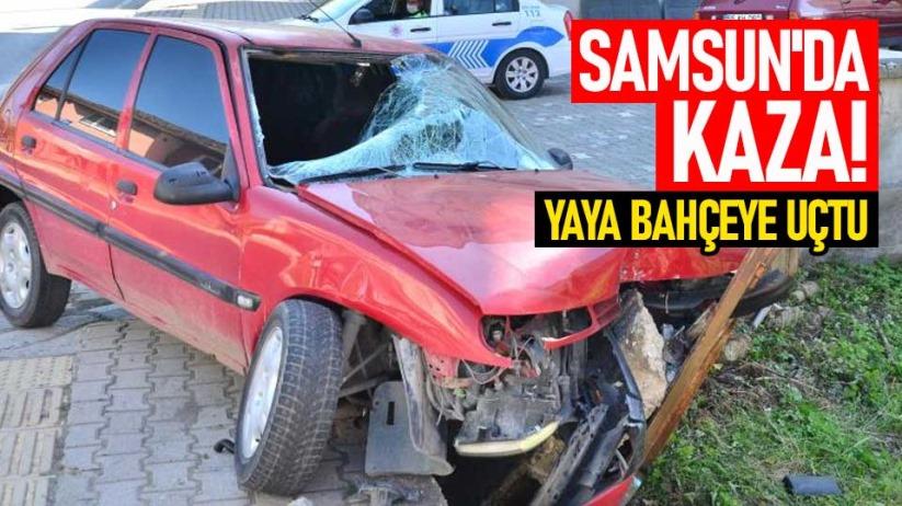 Samsunda kaza! Yaya bahçeye uçtu