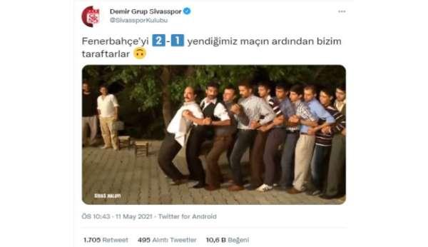 Sivasspordan Fenerbahçe galibiyeti sonrası paylaşım!