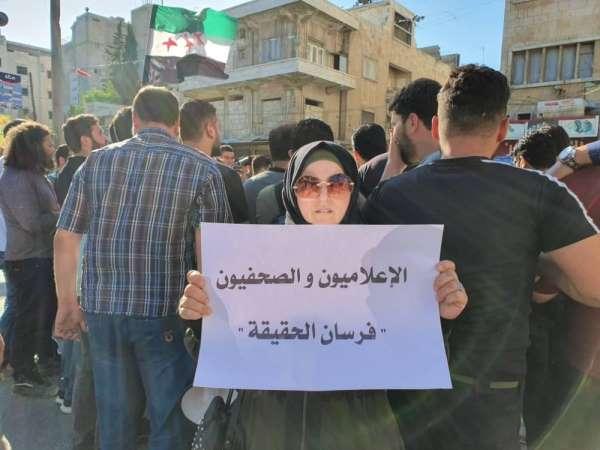 Suriyeli gazetecilerden saldırılara karşı protesto