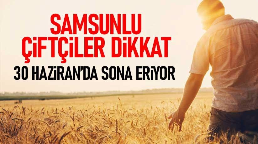 Samsunlu çiftçiler dikkat: 30 Haziranda sona eriyor