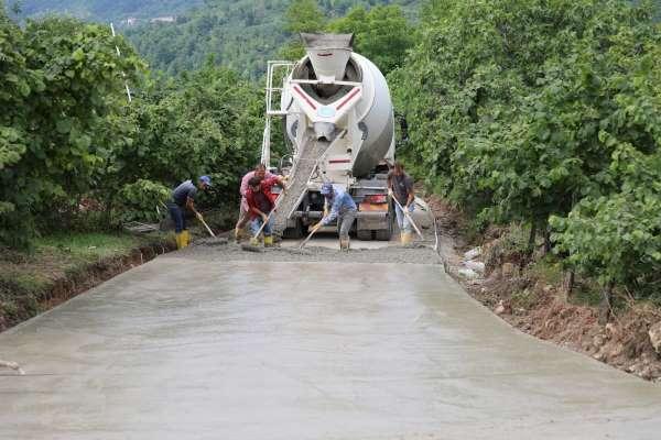 Fatsada beton yol çalışmaları sürüyor