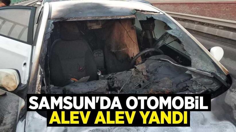 Samsunda otomobil alev alev yandı