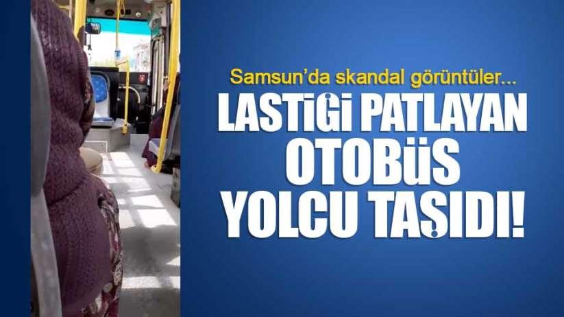 Samsun'da lastiği inen otobüs yolcu taşıdı