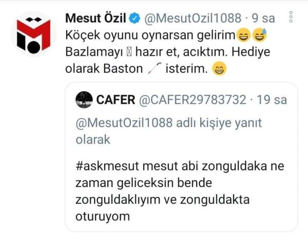 Mesut Özilden memleketi Zonguldak ile ilgili cevaplar