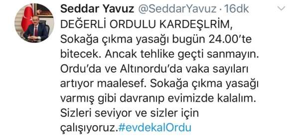 Ordu Valisi Seddar Yavuz uyardı: 'Tehlike geçti sanmayın, vaka sayıları artıyor'