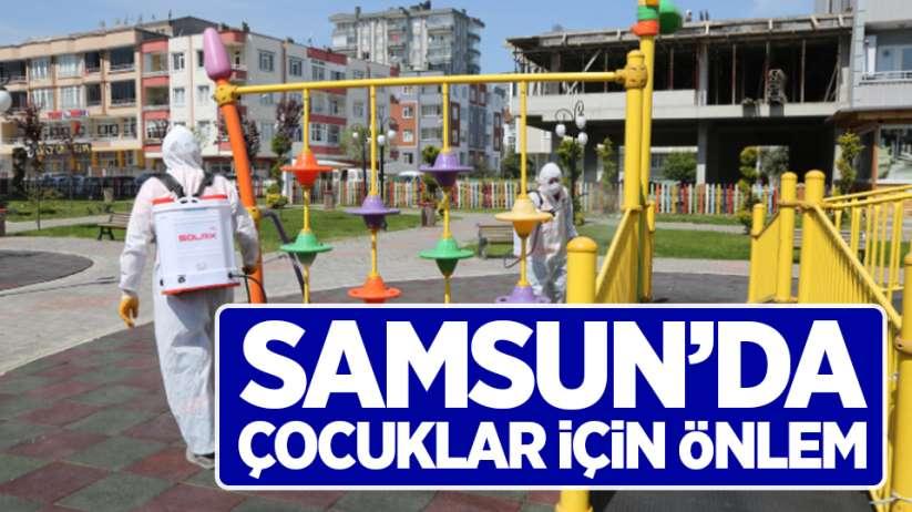 Samsun'da sokağa çıkacak çocuklar için parklarda hijyen önlemi