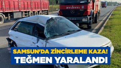 Samsun'da zincirleme kaza! Teğmen yaralandı