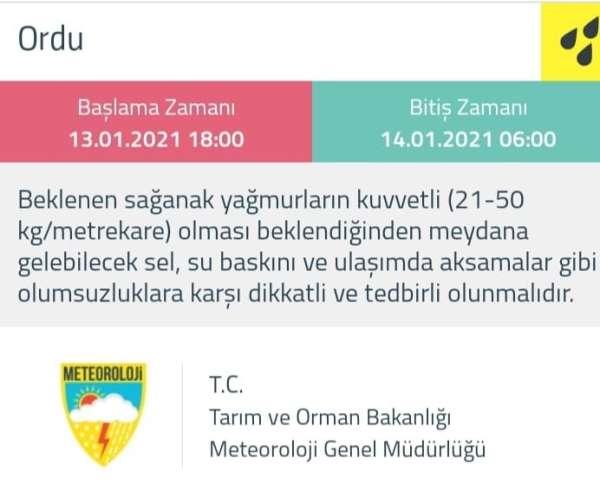 Meteorolojiden Ordu için 'sarı' uyarı