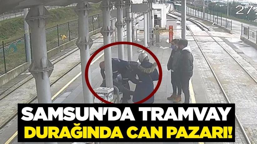 Samsunda tramvay durağında can pazarı!