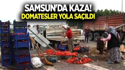 Samsun'da kaza!Domatesler yola saçıldı