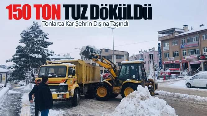 Tonlarca kar şehir dışına yaşındı, 150 ton tuz döküldü