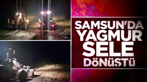 Samsun'da yağmur sele dönüştü