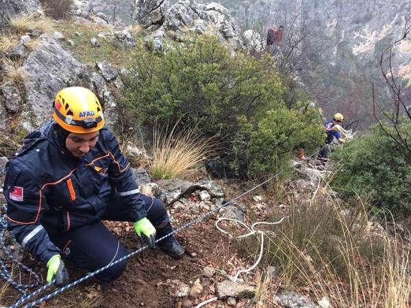 Kayalıkta mahsur kalan keçi kurtarıldı