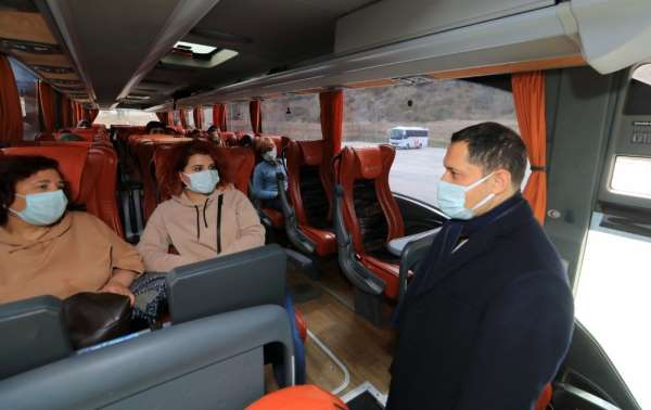 Vali Masatlıdan yolcu otobüsü ve minibüslerde koronavirüs denetimi