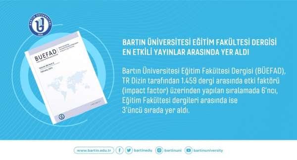 Bartın Üniversitesi Eğitim Fakültesi Dergisi en etkili yayınlar arasında yer aldı